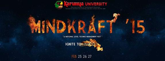 Mindkraft 15, Karunya University, February 25-27 2015, Coimbatore, Tamil Nadu
