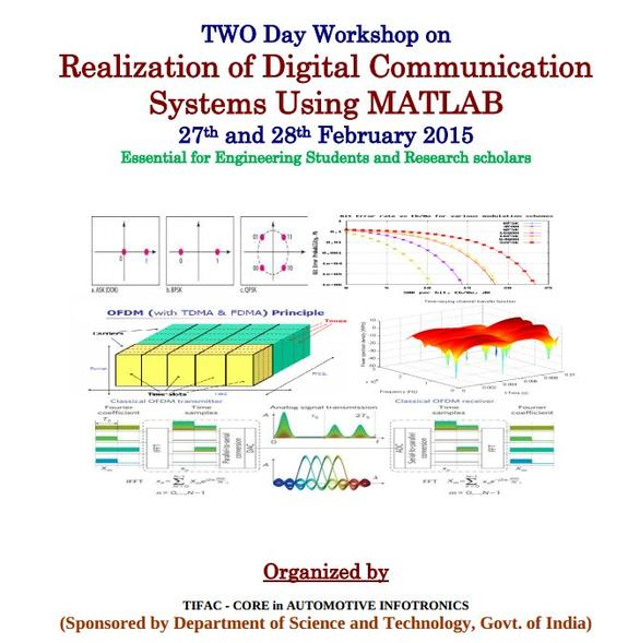Two Day Workshop on Realization of Digital Communication Systems Using MATLAB, VIT University, February 27-28 2015, Vellore, Tamil Nadu