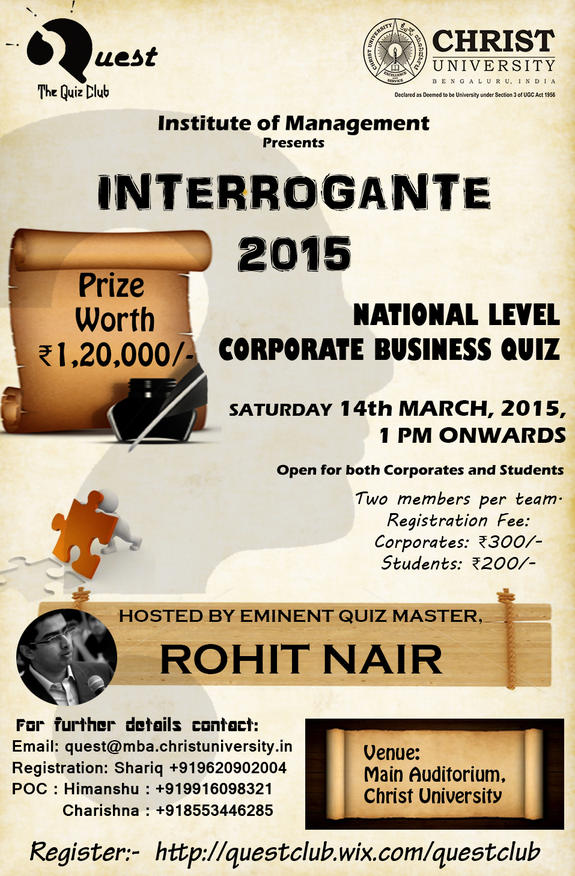 Interrogante 2015, Christ University, March 14 2015, Banglore, Karnataka