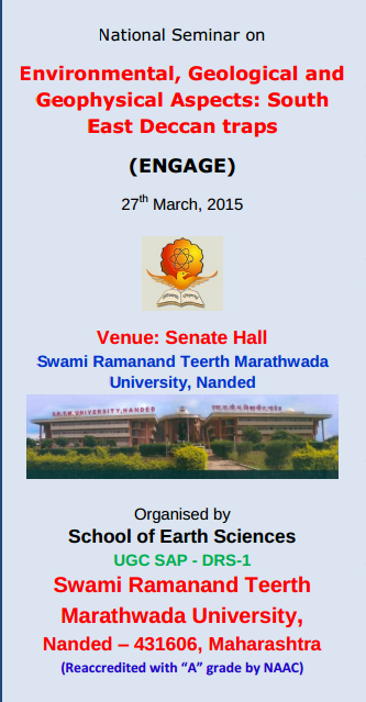 National Seminar on Environmental Geological and Geophysical Aspects South East Deccan traps, Swami Ramanand Teerth Marathwada University, March 27 2015, Nanded, Maharashtra