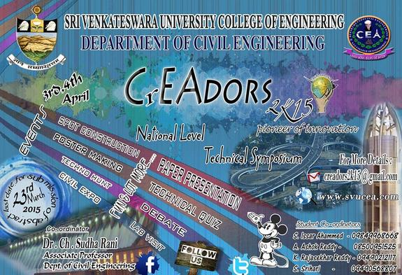 Creadors 2k15, Sri Venkateshwata University, April 3-4 2015, Tirupati, Andhra Pradesh
