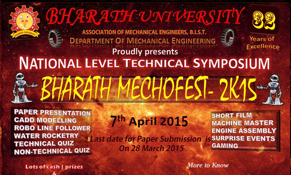 Bharath Mechofest 2k15, Bharath University, April 7 2015, Chennai, Tamil Nadu