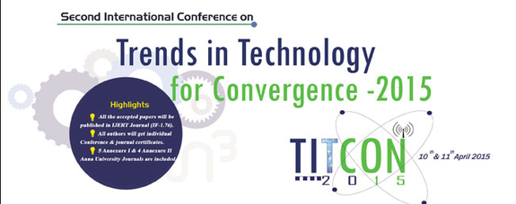 TITCON 2015, AVS Engineering College, April 10-11 2015, Salem, Tamil Nadu