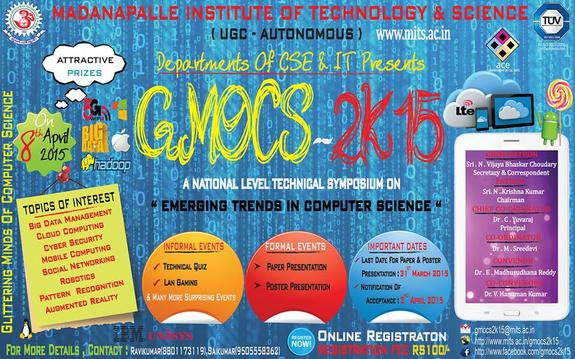 GMOCS 2k15, Madanapalle Institute of Technology and Science, April 8 2015, Madanapalle, Andhra Pradesh