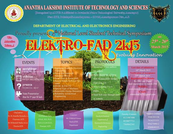 ELEKTRO-FAD 2K15, Anantha lakshmi Institute of Technology and Sciences, March 25-26 2015, Anantapur, Andhra Pradesh