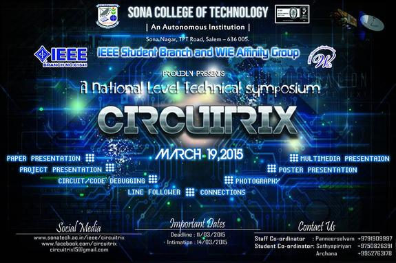 CIRCUITRIX 15, Sona College of Technology, March 19 2015, Salem, Tamil Nadu
