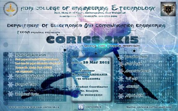 CORICS 2015, Adhi College of Engineering & Technology, March 20 2015, Chennai, Tamil Nadu