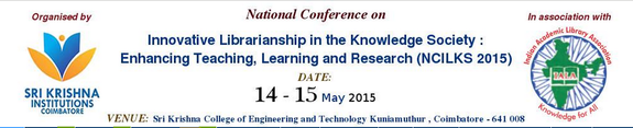 NCILKS 2015, Sri Krishna College of Engineering and Technology, May 14-15 2015, Coimbatore, Tamil Nadu