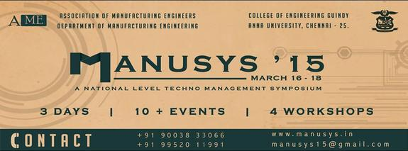 Manusys 15, Anna University, March 16-18 2015, Chennai, Tamil Nadu