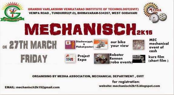MECHANISCH 2k15, Grandhi Varalakshmi Venkata Rao Institute of Technology, March 26 2015, Bhimavaram, Andhra Pradesh