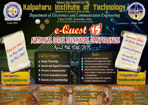 e-Quest 15, Kalpataru Institute of Technology, April 9-10 2015, Tiptur, Karnataka
