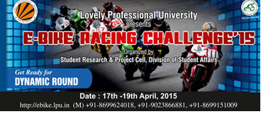 E-Bike Racing Challenge-2015, Lovely Professional University, April 17-19 2015, Jalandhar, Punjab