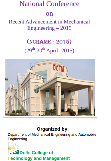 NCRAME 2015, Delhi College of Technology and Management, April 29-30 2015, Palwal, Haryna