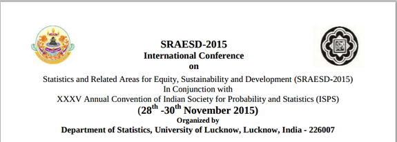 SRAESD 2015, University of Lucknow, November 28-30 2015, Lucknow, Uttar Pradesh