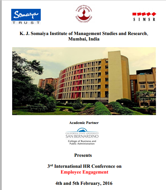 3rd International HR Conference on Employee Engagement, K. J. Somaiya Institute of Management Studies and Research, February 4-5 2016, Mumbai, Maharashtra