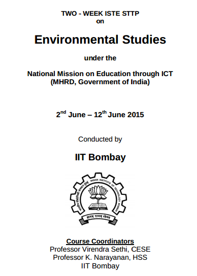 TWO WEEK ISTE STTP on Environmental Studies, Indian Institute of Technology, June 2-12 2015, Bombay, Maharashtra