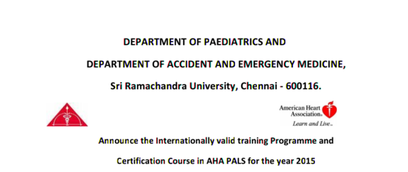 Announce the Internationally valid training Programme, Sri Ramachandra University, June 19-20 2015, Chennai, Tamil Nadu