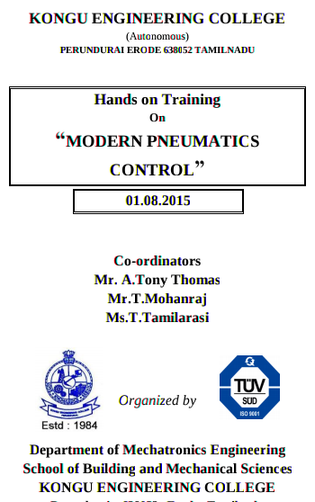 Hands on Training On Modern Pneumatics Control, Kongu Engineering College, August 1 2015, Erode, Tamil Nadu
