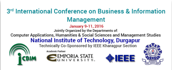 3rd International Conference on Business And Information Management 2016, National Institute of technology, January 9-11 2016, Durgapur, West Bengal