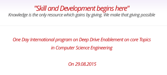 International Workshop on Deep Dive Enablement on Core Topics in Computer Science Engineering Matrix 2015, Top Engineers, August 29 2015, Chennai, Tamil Nadu
