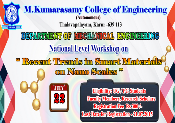 Workshop On Recent Trends in Smart Materials on Nano Scale