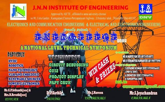 ENERGEECE 2k15, JNN Institute of Engineering, July 15 2015, Thiruvallur, Tamil Nadu