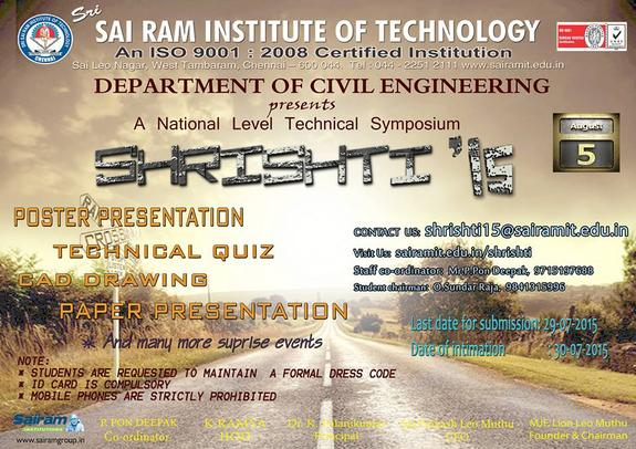 SHRISHTI 15, Sri Sai Ram Institute of Technology, August 5 2015, Chennai, Tamil Nadu