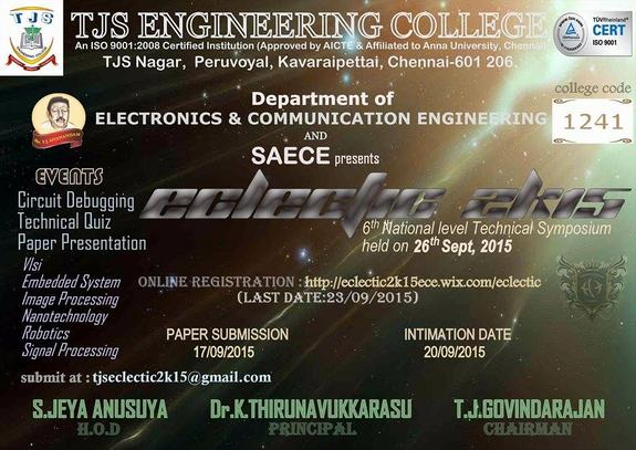 Eclectic 2K15, TJS Engineering College, September 26 2015, Chennai, Tamil Nadu