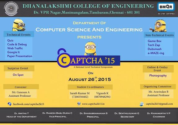 Captcha 15, Dhanalakshmi College of Engineering, August 26 2015, Chennai, Tamil Nadu