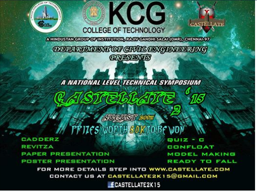 Castellate 2k15, KCG College of Technology, August 22 2015, Chennai, Tamil Nadu