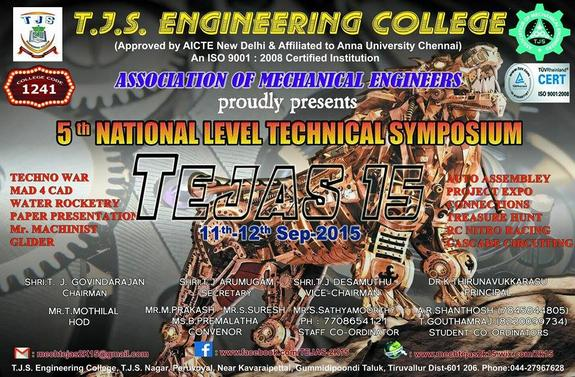 TEJAS 15, TJS Engineering College, September 11-12 2015, Chennai, Tamil Nadu