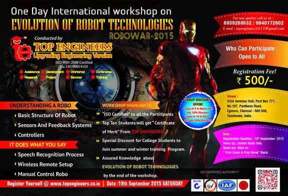 Workshop on Evolution of Robot Technologies- Robowar 2015, Top Engineers, September 19 2015, Chennai, Tamil Nadu
