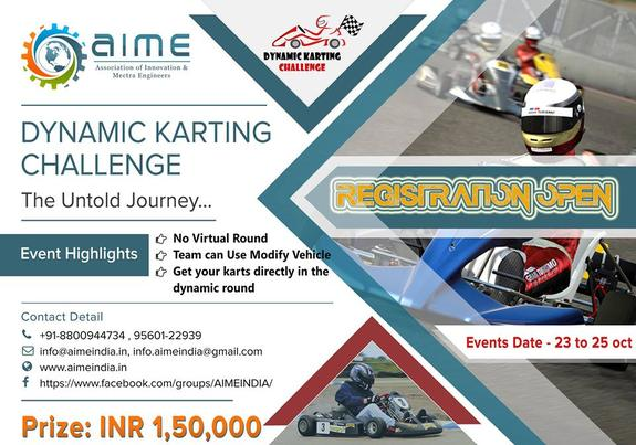 Dynamic Karting Challenge, Association of Innovation and Mectra Engineers, October 23-25 2015, New Delhi, Delhi
