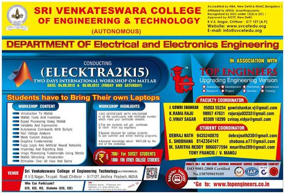 Elecktra 2k15, Sri Venkateswara College of Engineering and Technology, September 4-5 2015, Chittoor, Andhra Pradesh
