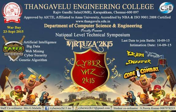 CyberWiz 2K15, Thangavelu Engineering College, September 23 2015, Chennai, Tamil Nadu