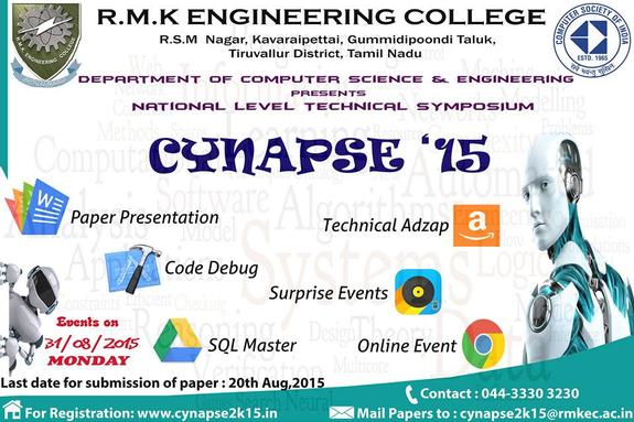 Cynapse 2K15, RMK Engineering College, August 31 2015, Thiruvallur, Tamil Nadu
