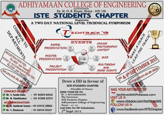 Techtrack 15, Adhiyamaan College of Engineering, September 7 -8 2015, Hosur, Tamil Nadu