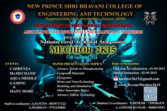 Mechior 2k15, New Prince Shri Bhavani College of Engineering and Technology, September 5 2015, Chennai, Tamil Nadu