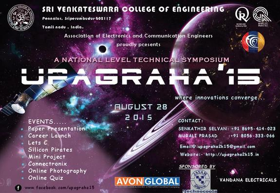 Upagraha 2k15, Sri Venkateswara College of Engineering, August 28 2015, Chennai, Tamil Nadu