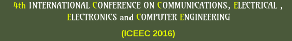 ICEEC 2016, The World Academy of Research in Science and Engineering, January 14 2016, Cochin, Kerala