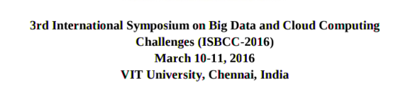 ISBCC-2016, VIT University, March 10-11 2016, Chennai, Tamil Nadu