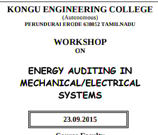 WEAMES 2015, Kongu Engineering College, September 23 2015, Erode, Tamil Nadu
