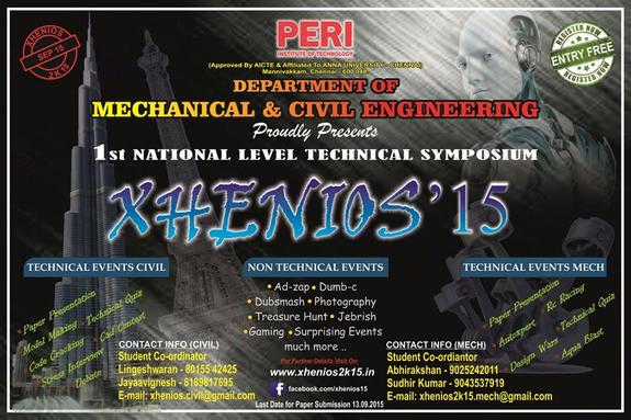 Xhenios 2K15, PERI Institute of Technology, September 15 2015, Chennai, Tamil Nadu
