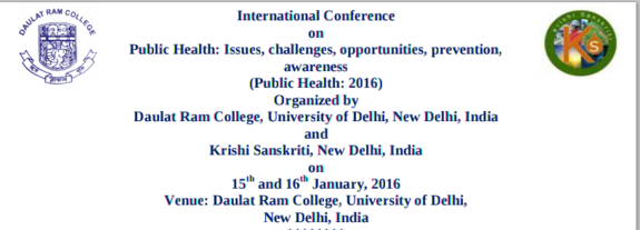 ICPH 2016, Daulat Ram College, January 15-16 2016, New Delhi, Delhi