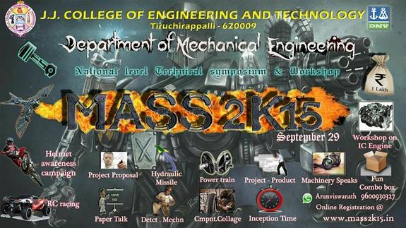 MASS 2k15, JJ College of Engineering and Technology, September 29 2015, Trichy, Tamil Nadu