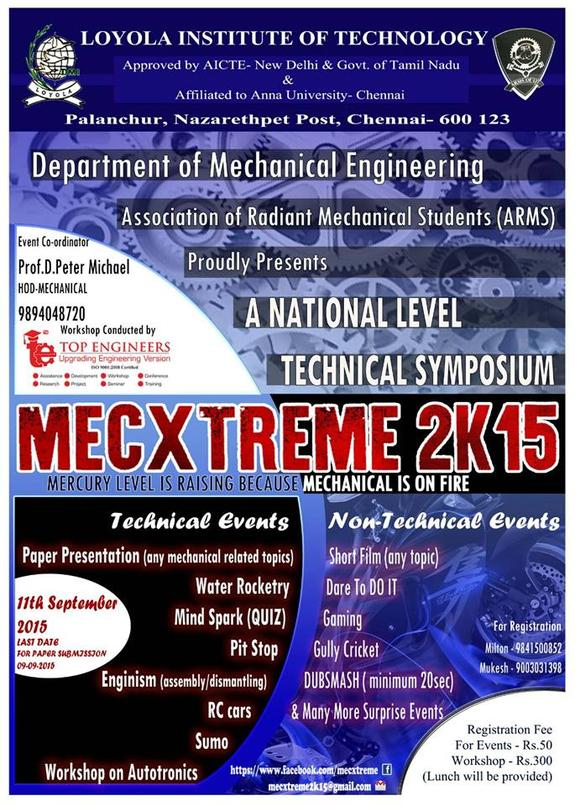 Mecxtreme 2K15, Loyola Institute of Technology, September 11 2015, Poonamalle, Tamil Nadu