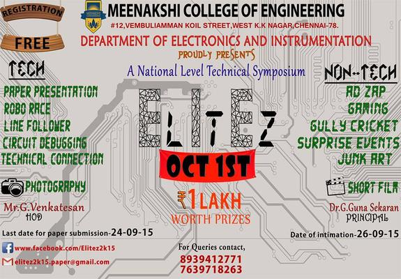 Elitez 2K15, Meenakshi College of Engineering, October 1 2015, Chennai, Tamil Nadu