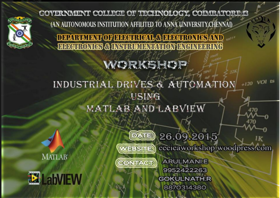 Workshopo On Industrial Drives and Automation 15, Government College of Technology, September 26 2015, Coimbatore, Tamil Nadu