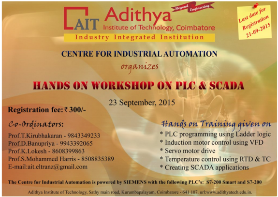 Hands On Tranining Workshop On PLC & SCADA, Adithya Institute of Technology, September 23 2015, Coimbatore, Tamil Nadu
