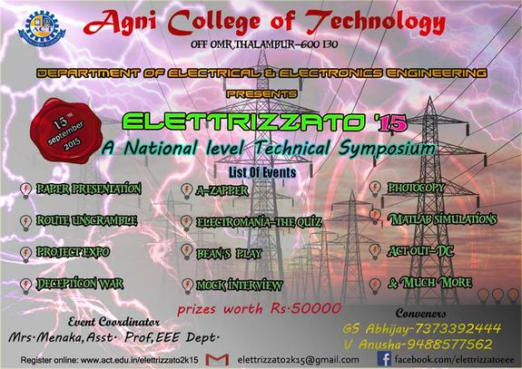 Elettrizzato 2k15, Agni College Of Technology, September 15 2015, Chennai, Tamil Nadu